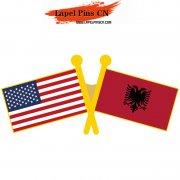 USA Albanian Flag Pins