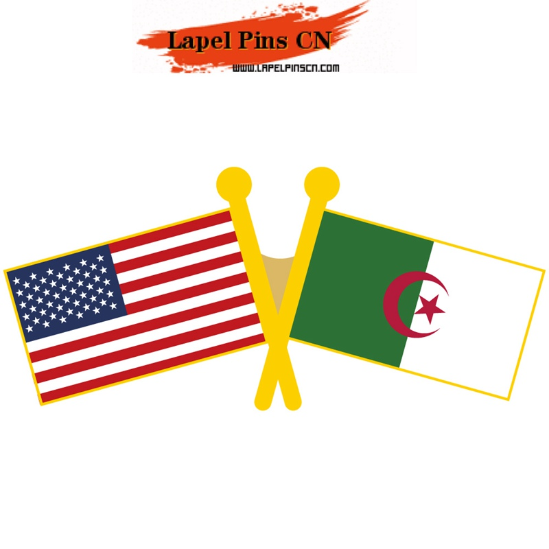 USA Algeria flag pins