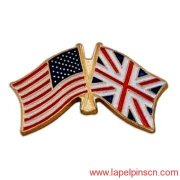 England And American Flag Lapel Pin