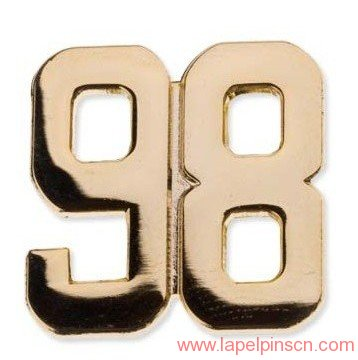 number lapel pin
